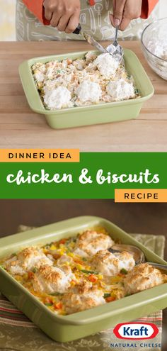 Chicken and Biscuits – Bring a taste of mama's home cookin' to your dinner table with this classic chicken and biscuit recipe! Plus, this dish only requires 7 ingredients—talk about easy. Chicken And Biscuits, Chicken And Dumplings, Chicken Casserole, Casserole Dishes, Casserole Recipes, Turkey Recipes, Chicken Recipes, Dinner Recipes, Dinner Ideas