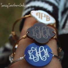 Monogrammed Wire Wrap Bangle Bracelet on www.SassySouthernGals.com ~ Monogrammed Gifts & Accessories