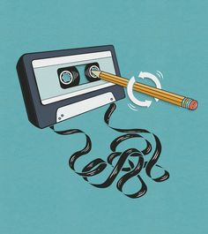 Back in the day....pencils came in handy! Yep you frequently had to do this to wind the tape back into the cartridge.
