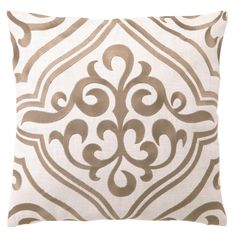 DL Rhein Tile Taupe Embroidered Linen Pillow