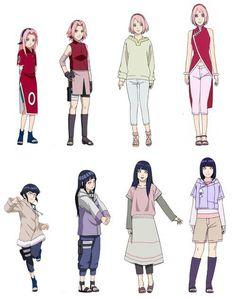 Sakura & Hinata evolution (tbh i like Hinata better with long hair & Sakura can rock both :3)