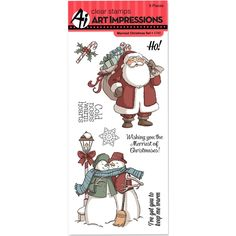 """Art Impressions Christmas Cling Rubber Stamp Set 8""""x4"""" - Merriest Christmas"""