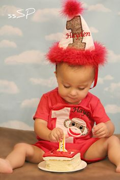 Sock Monkey Boys First Second Third Birthday Set - Shirt and diaper cover OR hat. $36.00, via Etsy.