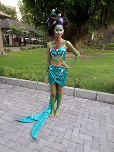 Mermaid Fantasy Costume ,make up and costume by me ,model by my friend  #mermaid #costume #fantasy #makeup