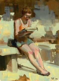Darren Thompson, Reader Painting, Oil on Wood Panel, cm h x cm w Reading Art, Woman Reading, Joan Mitchell, Paintings I Love, Beautiful Paintings, Illustrations, Illustration Art, People Reading, Collage