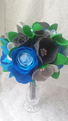 Blue Gray Felt Flower Bouqet with Pearl Accents-Wedding Gift