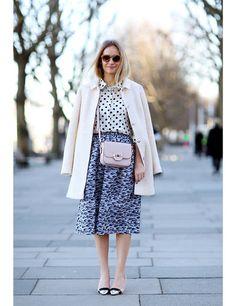 Martha Ward wears Prada shirt, Valentino skirt, J.Crew necklace, Todds bag, Topshop coat, Nicolas Kirkwood shoes LFW