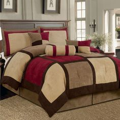 King size 7-Piece Bed Bag Patchwork Comforter Set in Brown Burgundy Red f379279afb