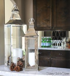 Change out these lanterns with the seasons by adding shells in the summer or pine cones in the winter!