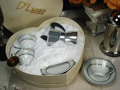 """""""Your guests will """"""""Love"""""""" this dainty yet elegant espresso set favor for two by D'Lusso Designs."""""""