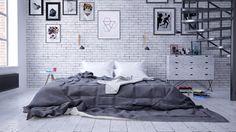 Loft w dawnej łódzkiej fabryce   Loft in an old factory - Marta Czeczko - architektura wnętrz   interior design Comforters, Interiors, Blanket, Bed, Furniture, Home Decor, Creature Comforts, Quilts, Decoration Home
