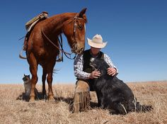 """Cowboy and Friends"" Konza Prairie, Kansas"