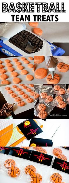 Craftibilities: Basketball TREATS - Party or Team Mom IDEAS! Any sport - baseball, soccer, softball : Craftibilities: Basketball TREATS - Party or Team Mom IDEAS! Any sport - baseball, soccer, softball Basketball Baby Shower, Sport Basketball, Basketball Birthday Parties, Sports Birthday, Boy Birthday, Birthday Basket, Soccer Ball, Basketball Cookies, Basketball Gifts