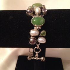 Bracelet Statement jewelry, bracelet with genuine fresh water pearls, amethyst, mombi pearls, emerald, peridot set in sterling silver.  #917B Jewelry Bracelets