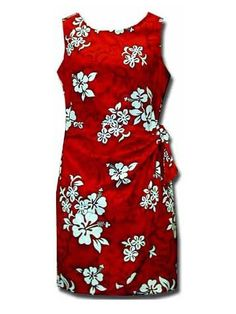 28e00f7ee898 Pacific Legend White Hibiscus Red Cotton Hawaiian Sarong Short Dress |  AlohaOutlet