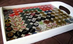 Check out the bottle cap tray I just made. #BottleCapTray #Bottlecap #crafts