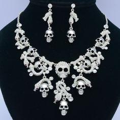 Swarovski Crystals Clear Bone Snake Skeleton Skull Necklace Earring Set