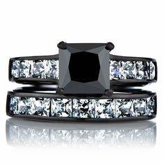 Ellyn's Black Wedding Ring Set - Faux Diamond