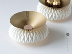 """Charmed and inspired by the traditional hand folding of leaves into serving plates and bowls in Asia, """"Mappa"""" expands on this loosely through the means of origami. Each plate/bowl is me… Plates And Bowls, Unique Lighting, Unique Furniture, Cool Items, Paper Design, Ceramic Art, Decorative Bowls, Origami, Tableware"""