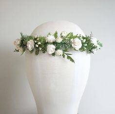 BRIDAL HEADDRESS // Woodland Bridal Crown-SERENITY  This woodsy headdress is perfect for the romantic woodland bride. This lovely crown features handmade paper roses in myriad sizes from the tiniest little buds to full bloom. It is designed with white roses, lacey caspia, green faux ferns and little bundles of preserved moss. It is a keepsake to be enjoyed for years to come. It is just perfect for the bride that desires a natural elegant look. It is adjustable and lightweight & ties in the…