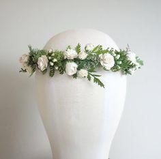 White Flower Crown Fern Crown Flower Crown by MoonflowerNatureArt