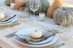 natural and light table setting with checked napkins