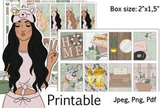 """Sweet Home Planner Printable Stickers Box Size 2,25""""x1,5"""" example image 1"""