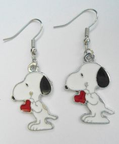 Cute Snoopy Puppy Love Earrings by Margyko on Etsy, $8.50 Dog whit a Heart valentine's day gift. For kids, teens and women Jewelry. Cartoon the peanuts gang. Adorable kawaii enamel dangle pair.