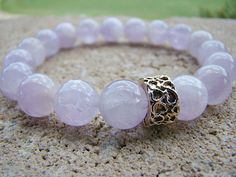 Gemstone Stretch Bracelet, Beaded Bracelet, Purple, Bead Bracelet, Amethyst, Stretch Bracelet, Gold Beaded Bracelet, Stacking Bracelet by BeJeweledByCandi on Etsy