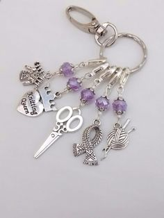 Stitch Markers for Knitting on a handy keyring.