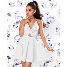 Ariana Grande For Lipsy Lace Top Skater Dress ($72) ❤ liked on Polyvore featuring dresses, lace skater dress, cut out skater dress, going out dresses, white lace dress and party dresses