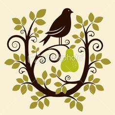 Partridge in a Pear Tree  + other Twelve Days of Christmas stock illustration
