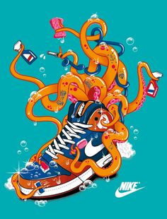 NIKE OCTOPUS – ILLUSTRATION PAR TOKYOCANDIES