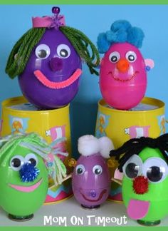 Decorate your Easter eggs with fun googly eyes and and other fun craft supplies. | easy spring kids crafts