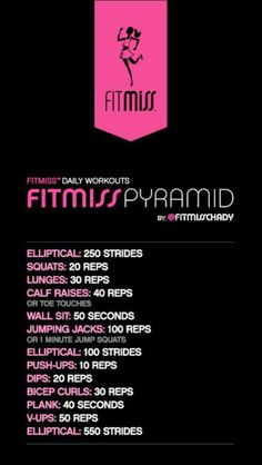 Pyramid workout with elliptical Fit Board Workouts, Gym Workouts, At Home Workouts, Elliptical Workouts, Hiit, Walking Workouts, Stairmaster, Plyometrics, Fitness Goals