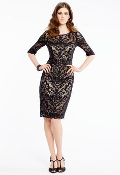 TWO TONE LACE SHEATH DRESS #lace #dress #short #chic #camillelavie #black