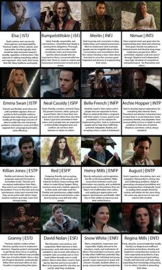 Myers-Briggs (MBTI) Personality Types of Once Upon a Time characters. Personality Chart, Personality Psychology, Infj Mbti, Entj, Introvert, Myers Briggs Personalities, Myers Briggs Personality Types, Infj Characters, Mbti Charts