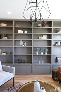 2018 Utah Valley Parade of Homes: Part 2 bibliothek 2018 Utah Valley Parade of Homes: Part 2 Grey Bookshelves, Painted Bookshelves, Bookshelves In Living Room, Built In Bookcase, Living Room Tv Cabinet, Regal Design, Modern Home Interior Design, Parade Of Homes, Room Paint Colors