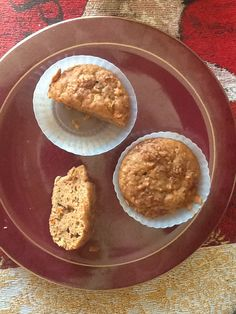 Yummy applesauce muffins inside view. There was four and now only two . Yummy!!