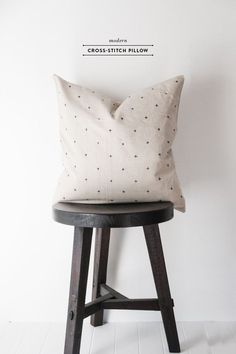 Modern Cross Stitched Pillow