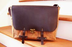 Waxed Canvas and Leather Messenger Bag / Made to Order