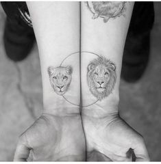 Lioness and lion tattoo #couplestattoo