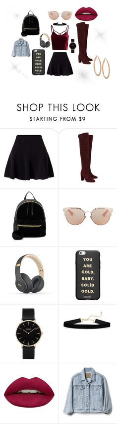"""""""girls night sensation"""" by patmai on Polyvore featuring Miss Selfridge, Aquazzura, T-shirt & Jeans, Christian Dior, Beats by Dr. Dre, ban.do, CLUSE, Huda Beauty and Gap"""
