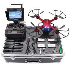 Quadcopter Drone RTF Altitude Hover 3D Flips 2MP HD Camera Monitor Carrying Case #QuadcopterDrone