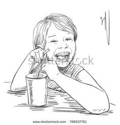 Sketch of happy laughing little girl drinking from glass with straw, Hand drawn vector illustration with hatched shades