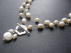 Items similar to Long Statement Pearl Necklace - Pearl, Sterling Silver - Coco Necklace by Simple Elements Design on Etsy Black And White Necklaces, Pearl Statement Necklace, Jewerly, Beading, Beaded Bracelets, Pearls, Sterling Silver, My Style, Etsy