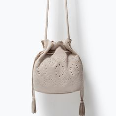 ZARA - NEW THIS WEEK - CUT WORK MINI LEATHER BUCKET BAG