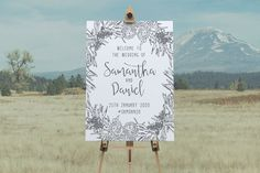 This wedding welcome sign design features a beautiful hand drawn floral illustration with a classic calligraphy style script. Unique Invitations, Wedding Invitation Design, Printable Invitations, Baby Shower Invitations, Alphabet Design, Sign Templates, Floral Illustrations, Wedding Welcome, Sign Design