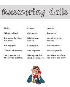 Answering calls in Italian & English Italian Grammar, Italian Vocabulary, Italian Phrases, Italian Language, Vocabulary Words, Korean Language, English To Italian Words, Japanese Language, Language Study
