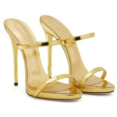 Giuseppe Zanotti Darsey ($695) ❤ liked on Polyvore featuring shoes, sandals, platform mules, platform shoes, gold flats, flat shoes and gold strap sandals